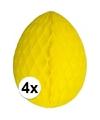 4x decoratie paasei geel 10 cm