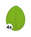 4x decoratie paasei groen 10 cm