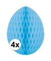 4x decoratie paasei lichtblauw 10 cm
