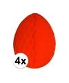 4x decoratie paasei rood 10 cm