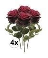 4x donker rode rozen simone kunstbloemen 45 cm