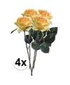 4x gele rozen simone kunstbloemen 45 cm