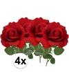 4x kunstbloem roos carol rood 37 cm