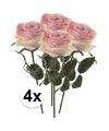 4x licht roze rozen simone kunstbloemen 45 cm