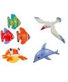 4x opblaasbare maritiem decoratie zeedieren type 3