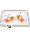 4x oranje roosjes van satijn 12 cm