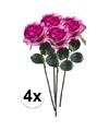 4x paars roze rozen simone kunstbloemen 45 cm