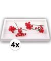4x rode roosjes van satijn 12 cm