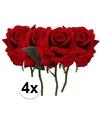 4x rode rozen deluxe kunstbloemen 31 cm