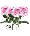 4x roze rozen carol kunstbloemen 37 cm