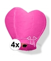 4x wensballon roze hart 100 cm