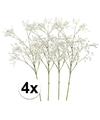 4x witte gipskruid kunstbloemen 65 cm