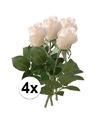 4x witte roos kunstbloemen 35 cm