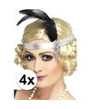 4x zilveren jaren 20 hoofdbanden