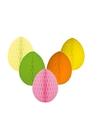 5 decoratie paaseieren pakket vrolijke kleuren 20 cm