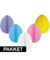 5 decoratie paaseieren pakket vrolijke kleuren 30 cm