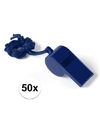 50x blauw fluitje aan koord