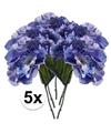5x blauwe hortensia kunstbloemen tak 28 cm