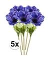 5x blauwe kunst anemoon tak 47 cm