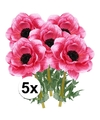 5x cerise anemoon kunstbloemen 47 cm