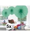 5x decoratie waaier mint groen 45 cm