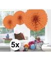 5x decoratie waaier zalm roze 45 cm