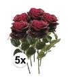 5x donker rode rozen simone kunstbloemen 45 cm