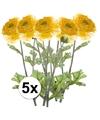5x gele ranonkel kunstbloemen tak 45 cm