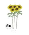5x gele zonnebloem kunstbloemen 38 cm