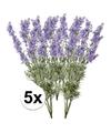 5x licht paarse lavendel kunstbloemen 40 cm