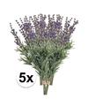 5x paarse lavendel kunstbloemen 33 cm