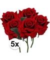 5x rode rozen deluxe kunstbloemen 31 cm