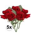 5x rode rozen kunstbloemen 30 cm