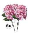 5x roze hortensia kunstbloemen tak 28 cm