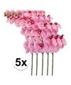 5x roze kunst orchidee tak 100 cm