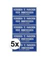 5x verboden te parkeren voor onbevoegden sticker 14 8 x 10 5 cm