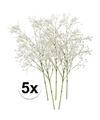 5x witte gipskruid kunstbloemen 65 cm