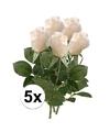 5x witte roos kunstbloemen 35 cm