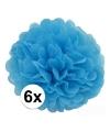 6 blauwe decoratie pompoms 35 cm