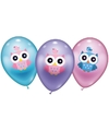 6 uilen ballonnen 28 cm