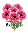6x cerise anemoon kunstbloemen 47 cm