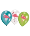 6x flamingo print ballonnen 27 cm