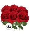 6x kunstbloem roos carol rood 37 cm