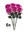 6x paars roze rozen simone kunstbloemen 45 cm