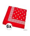 6x rode boeren zakdoek met stippen