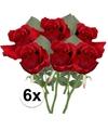 6x rode rozen kunstbloemen 30 cm