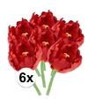6x rode tulp deluxe kunstbloemen 25 cm
