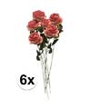 6x roze kunst roos simone 45 cm