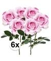 6x roze rozen carol kunstbloemen 37 cm