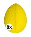 8 decoratie paaseieren geel 30 cm